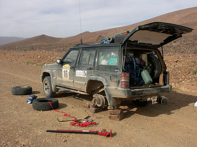 Repairing Tyre in desert